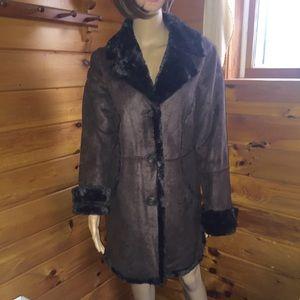 Larry Levine faux suede/fur coat, large